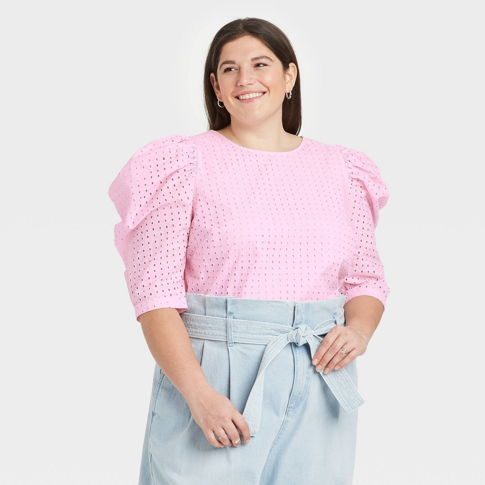 Women 39 S Plus Size Elbow Sleeve Eyelet Top A New Day 8482 Pink 160 1x