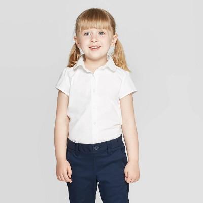Toddler Girls' Short Sleeve Uniform Woven Blouse - Cat & Jack™ True White