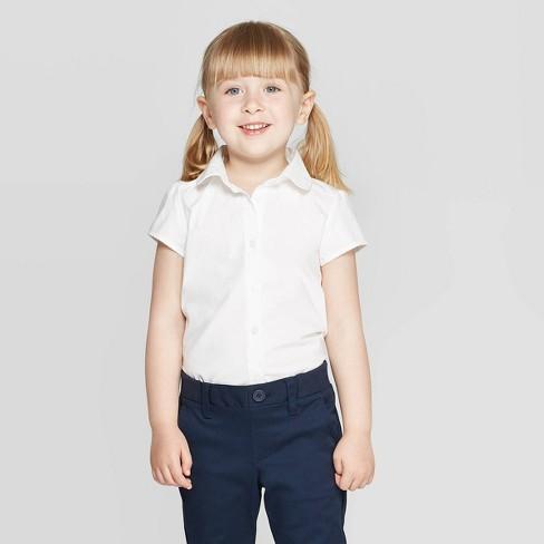 Toddler Girls' Short Sleeve Uniform Woven Blouse - Cat & Jack™ True White - image 1 of 3