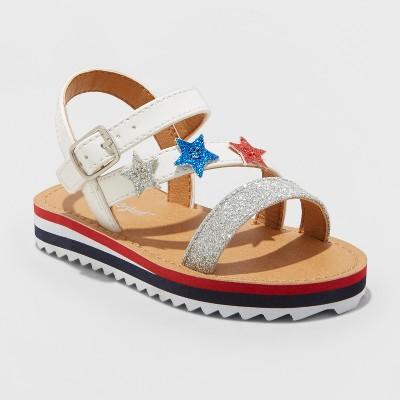 Toddler Girls' Aesha Stars Platform Glitter Striped - Cat & Jack™ Silver 5