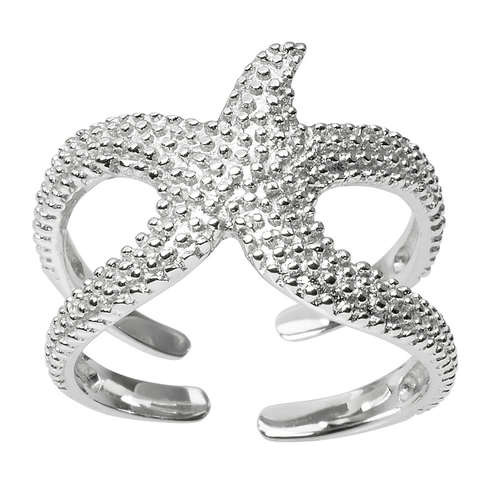Women's Journee Collection Starfish Wrap Ring in Sterling Silver - Silver, 6