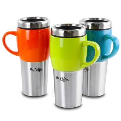 Mr. Coffee 16oz 3pk Stainless Steel Traverse Colorful Travel Mugs with Lids