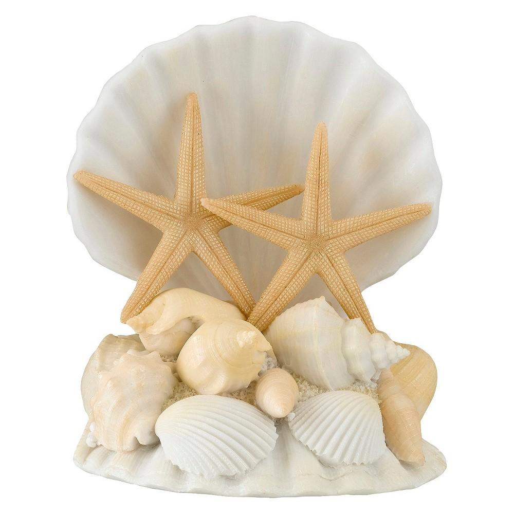 Starfish and Seashell Wedding Cake Topper, White