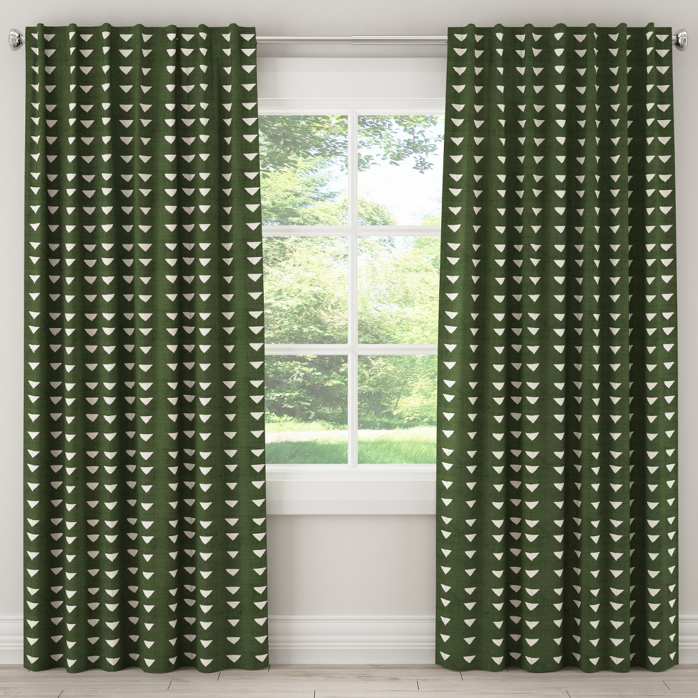 "Image of ""108L Unlined Curtain Triangle Dark Green - Cloth & Co., Size: 108"""""""