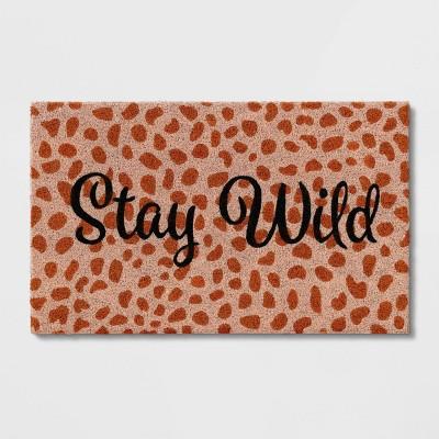 """1'6""""x2'6"""" 'Stay Wild' Leopard Doormat Pink - Opalhouse™"""