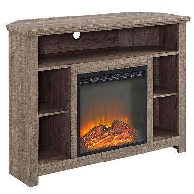 "Wood Corner Highboy Fireplace TV Stand for TVs up to 50"" - Saracina Home"