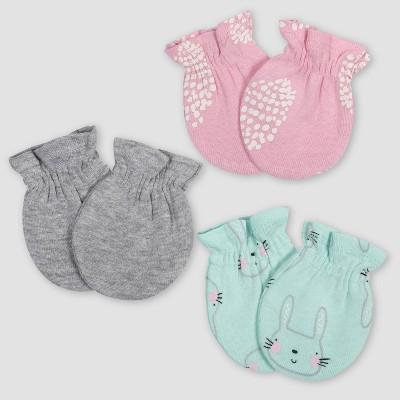 Gerber Baby Girls' 3pk Bunny Mittens - Green/Pink/Gray 0-3M