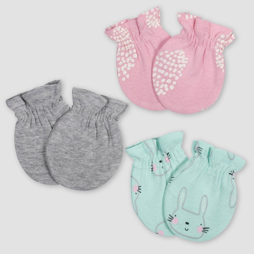 Image of Gerber Baby Girls' 3pk Bunny Mittens - Green/Pink/Gray 0-3M, Girl's, Size: Small