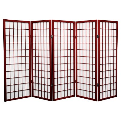 4 ft. Tall Window Pane Shoji Screen - Rosewood (5 Panels)