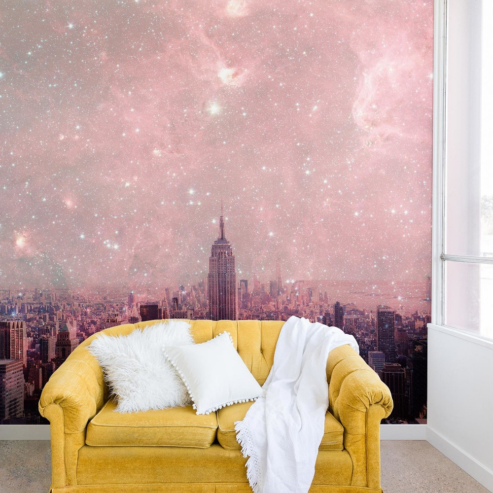 "Image of ""12""""x8"""" Bianca Green Stardust Covering New York Wall Mural Pink - Deny Designs"""