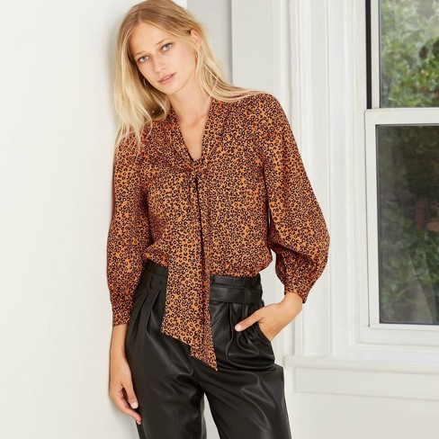 Women's Long Sleeve Soft Bow Blouse - Who What Wear™ - image 1 of 4