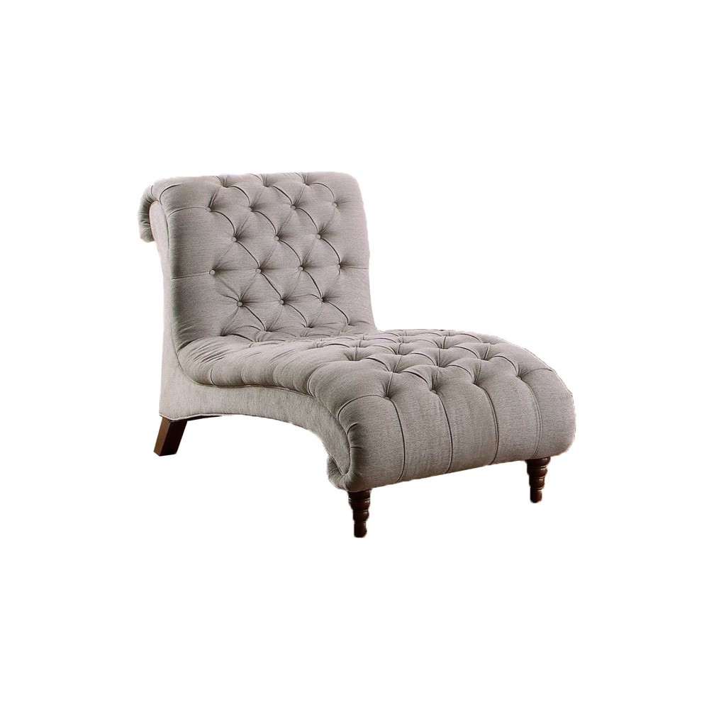 Image of Button Tufted Chaise With Polyester Upholstery Gray/Brown - Benzara