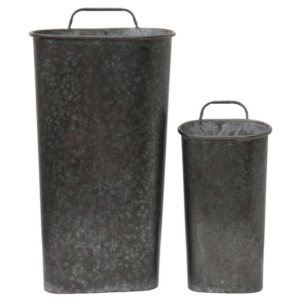 Image of Tin Wall Bucket set of 2 (22H), Multi-Colored