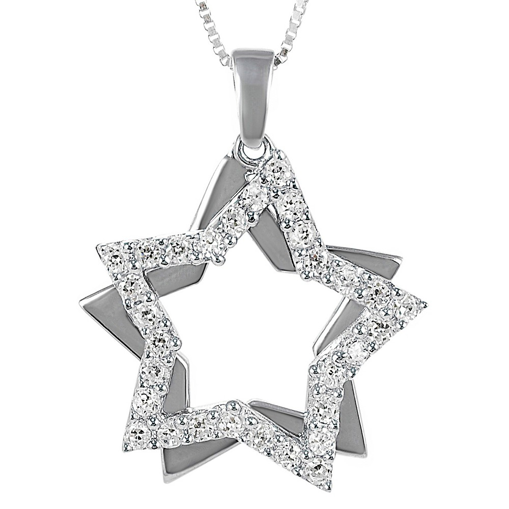1/3 CT. T.W. Round-cut CZ Pave Set Double Star Pendant Necklace in Sterling Silver - Silver, Girl's