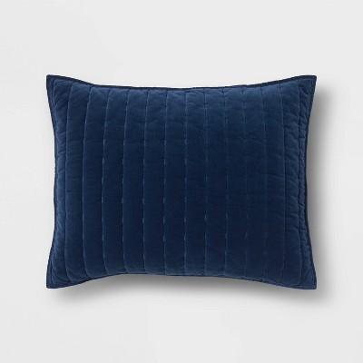 Standard Channel Stitch Velvet Quilt Sham Navy - Threshold™