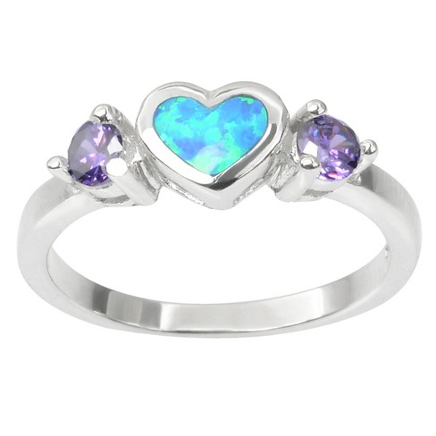 1/3 CT. T.W. Heart-cut Opal Inlaid CZ Heart Ring in Sterling Silver - Purple - image 1 of 2