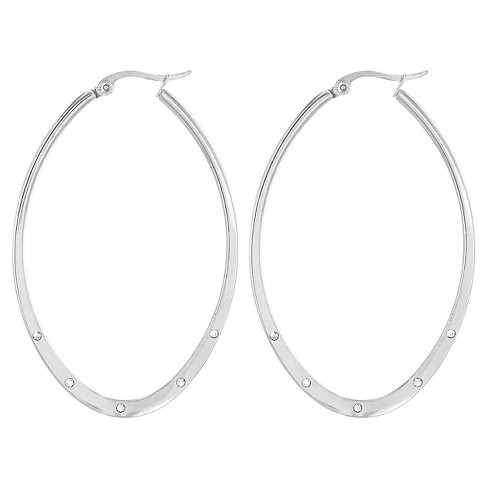 Elya Stainless Steel Oval Cubic Zirconia Hoop Earrings