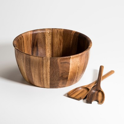 Kalmar Home 13-Inch Acacia Wood Extra Large Salad Bowl with Servers