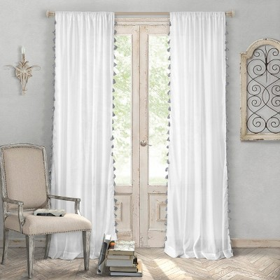 "Bianca Sheer Window Curtain Panel with Tassels - 52"" x 84"" - Elrene Home Fashions"