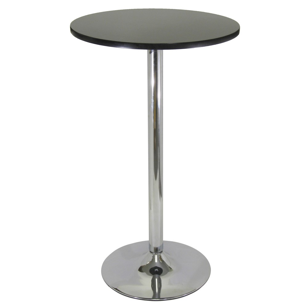 """Image of """"Spectrum Pub Table 24"""""""" Round, Black with Chrome - Black Top Metal Leg - Winsome"""""""