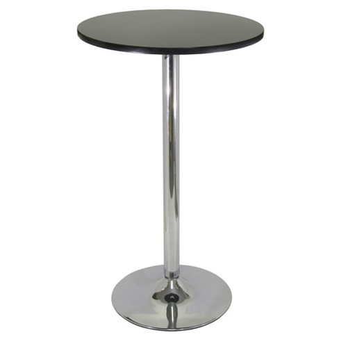Spectrum Pub Table 24 Round Black With Chrome Top Metal Leg Winsome