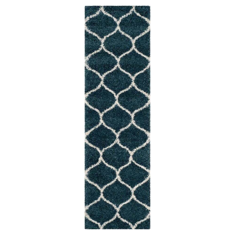 Slate Blue/Ivory Abstract Shag/Flokati Loomed Runner - (2'3X8') - Safavieh