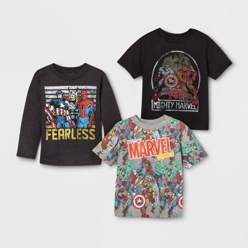 Toddler Boys  3pk Marvel Avengers T-Shirts - Gray Black   Target e022bfd73