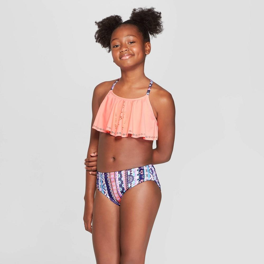 Girls' Baja Beach Stripe Bikini Set - art class Peach S, Pink