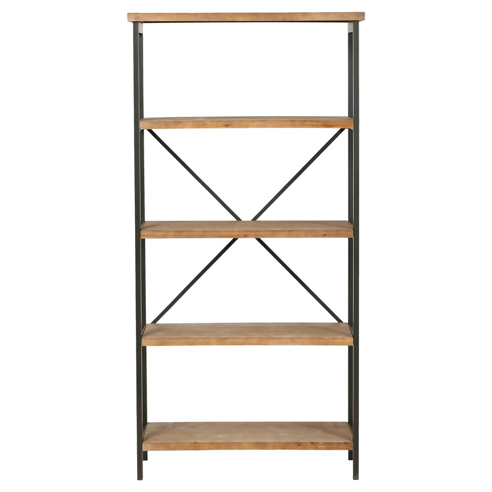 Perth 68.5 5-Shelf Industrial Bookcase Antique - Christopher Knight Home, Antique Wood