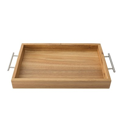 Monogram Acacia Serving Tray with Metal Handles - Cathy's Concepts