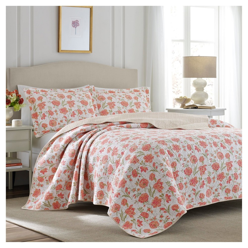 Apricot Cadence Quilt Set (Full/Queen) - Laura Ashley, Orange