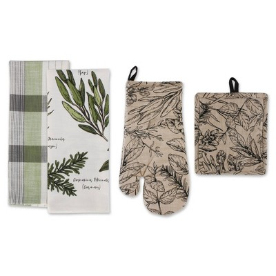 4pc Cotton Fresh Herbs Kitchen Towel and Oven Mitt Set Green - Design Imports