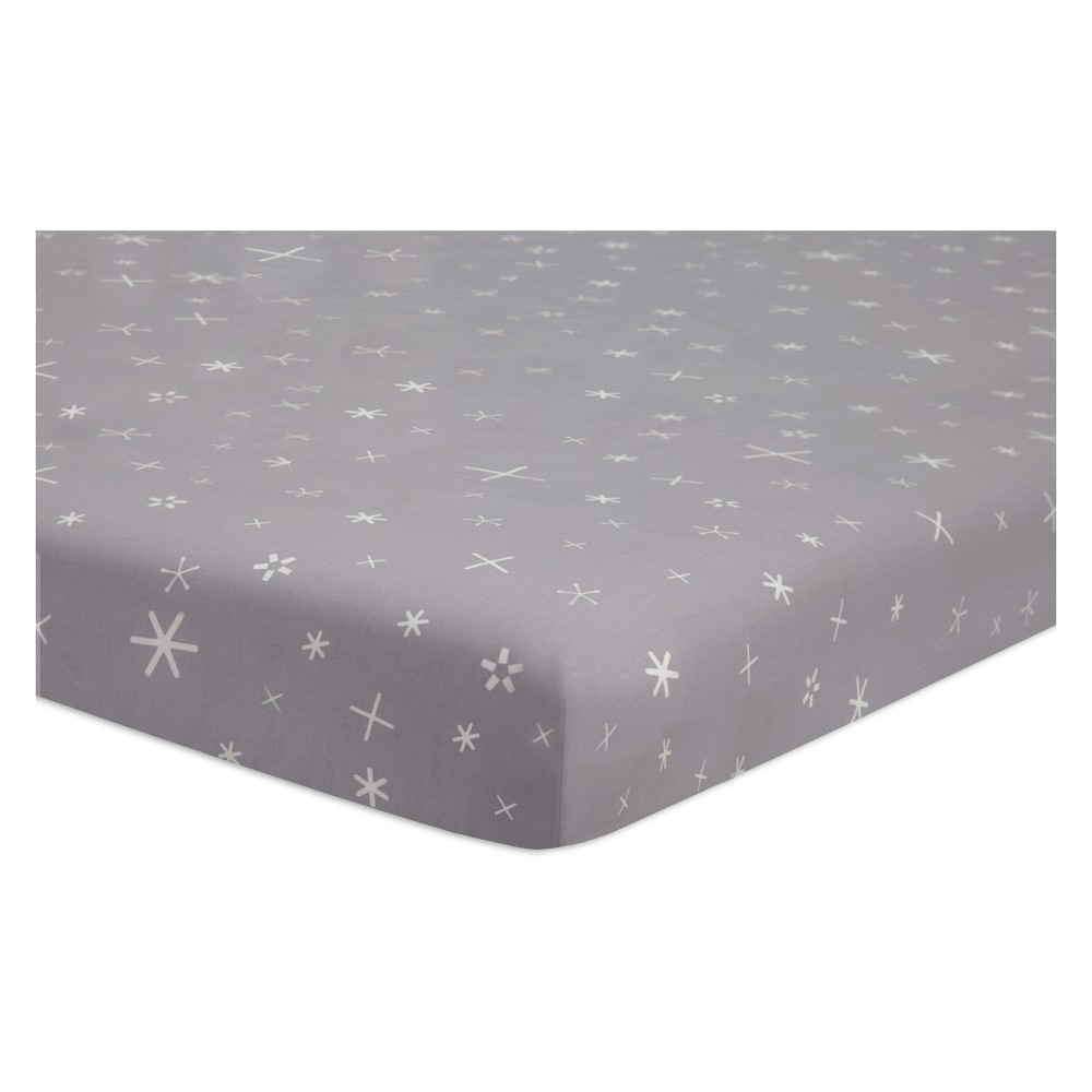 Babyletto Fitted Mini Crib Sheet Galaxy Galactic Stars - Gray