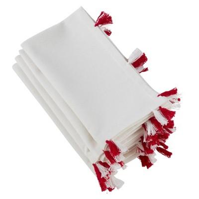 "20"" White Napkin with Red and White Tassels Set of 4 pc - SARO Lifestyle"