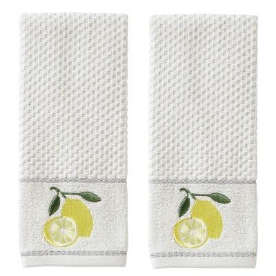 2pc Lemon Zest Hand Towel Set White - SKL Home
