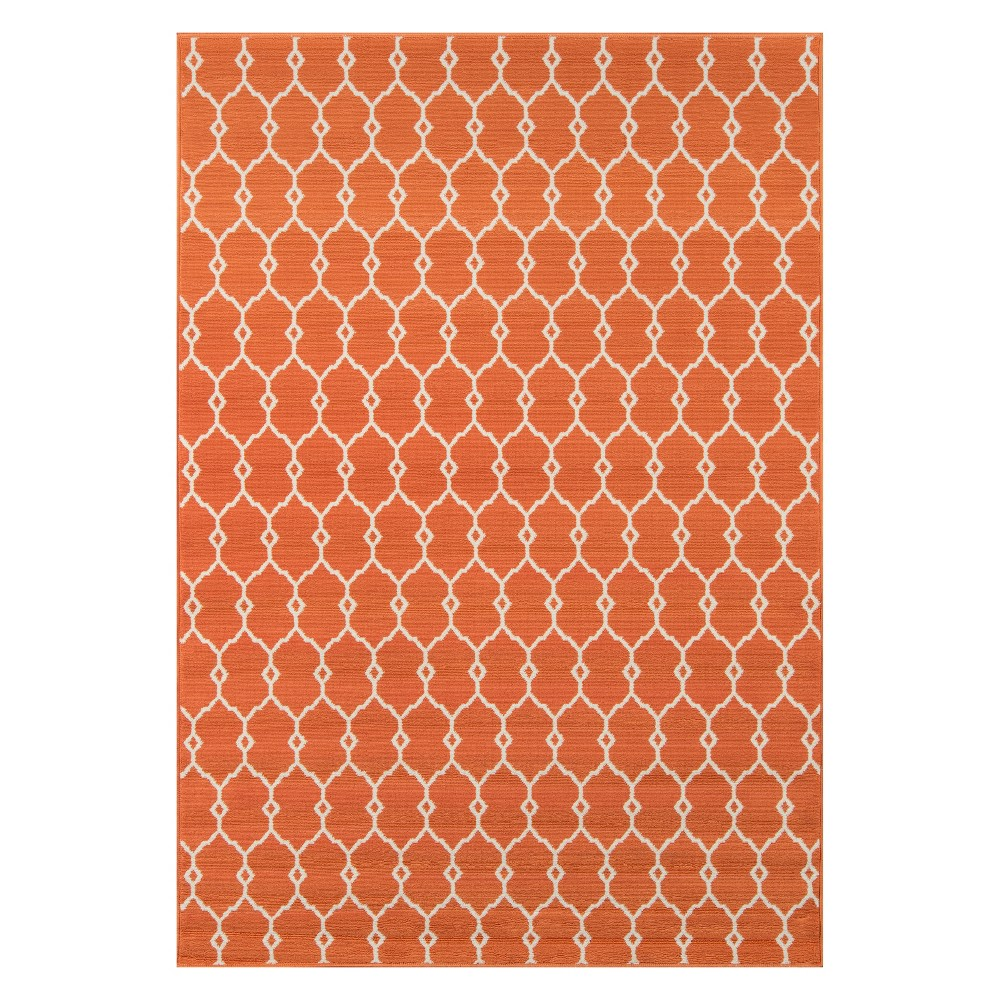 Geometric Loomed Accent Rug Orange