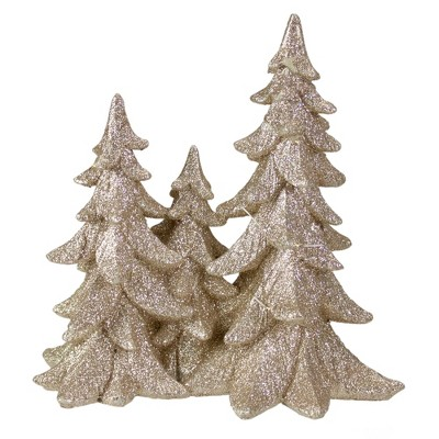 "Northlight 8"" Champagne Gold Glittered Christmas Tree Trio Tabletop Decoration"