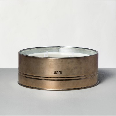28oz Large Holiday Tin 4-Wick Candle Aspen - Hearth & Hand™ with Magnolia