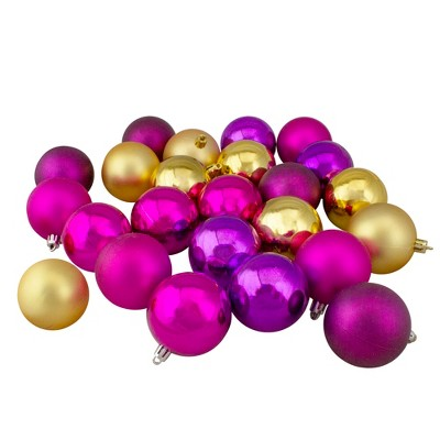 "Northlight 24ct Shatterproof 2-Finish Christmas Ball Ornament Set 2.5"" - Purple/Gold"