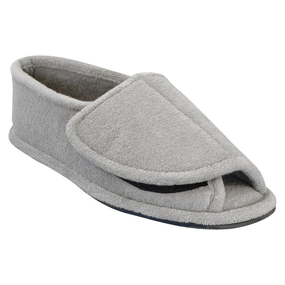 Men's Muk Luks Adjustable Open Toe Slipper - Pearl Gray L(11.5-13), Size: L (11.5-13)