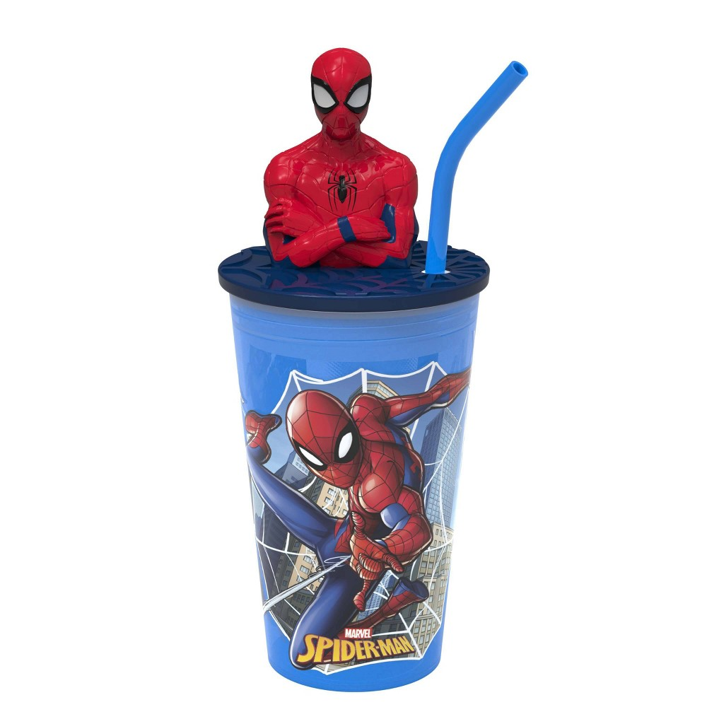 Marvel Spider Man 2 15oz Plastic Funtastic Straw Tumbler Zak Designs