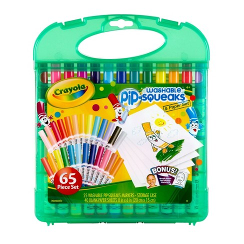 Crayola Pip Squeaks Washable Markers Set Portable Coloring Supplies Gift For Kids 65pc
