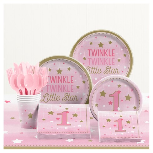 One Little Star Girl 1st Birthday Party Supplies Kit : Target