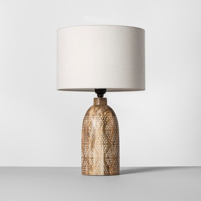 Carved Wood Dots Accent Lamp White Includes Energy Efficient Light Bulb - Opalhouse™