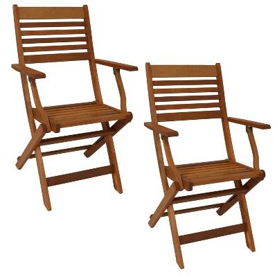 2pc Meranti Wood Outdoor Folding Patio Armchairs - Sunnydaze Decor