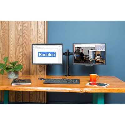 Incroyable Double Articulated Dual Monitor Desk Mount, Black