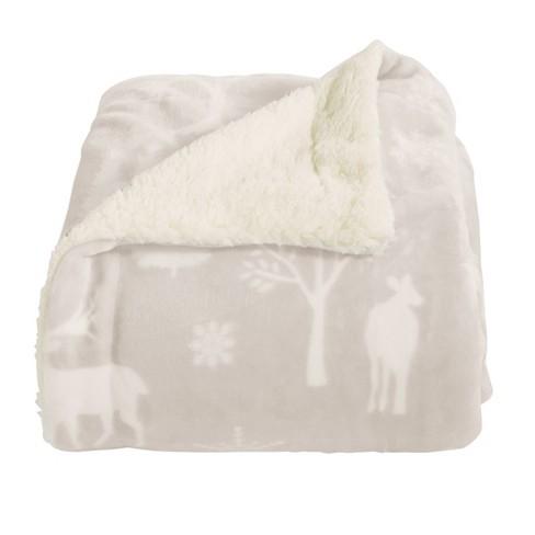 Home Fashion Designs Reversible Sherpa Velvet Plush Throw Blanket Enchanted Woods Grey Target
