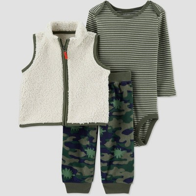 Baby Boys' 3pc Camo Sherpa Vest Top & Bottom Set - Just One You® made by carter's Green 12M