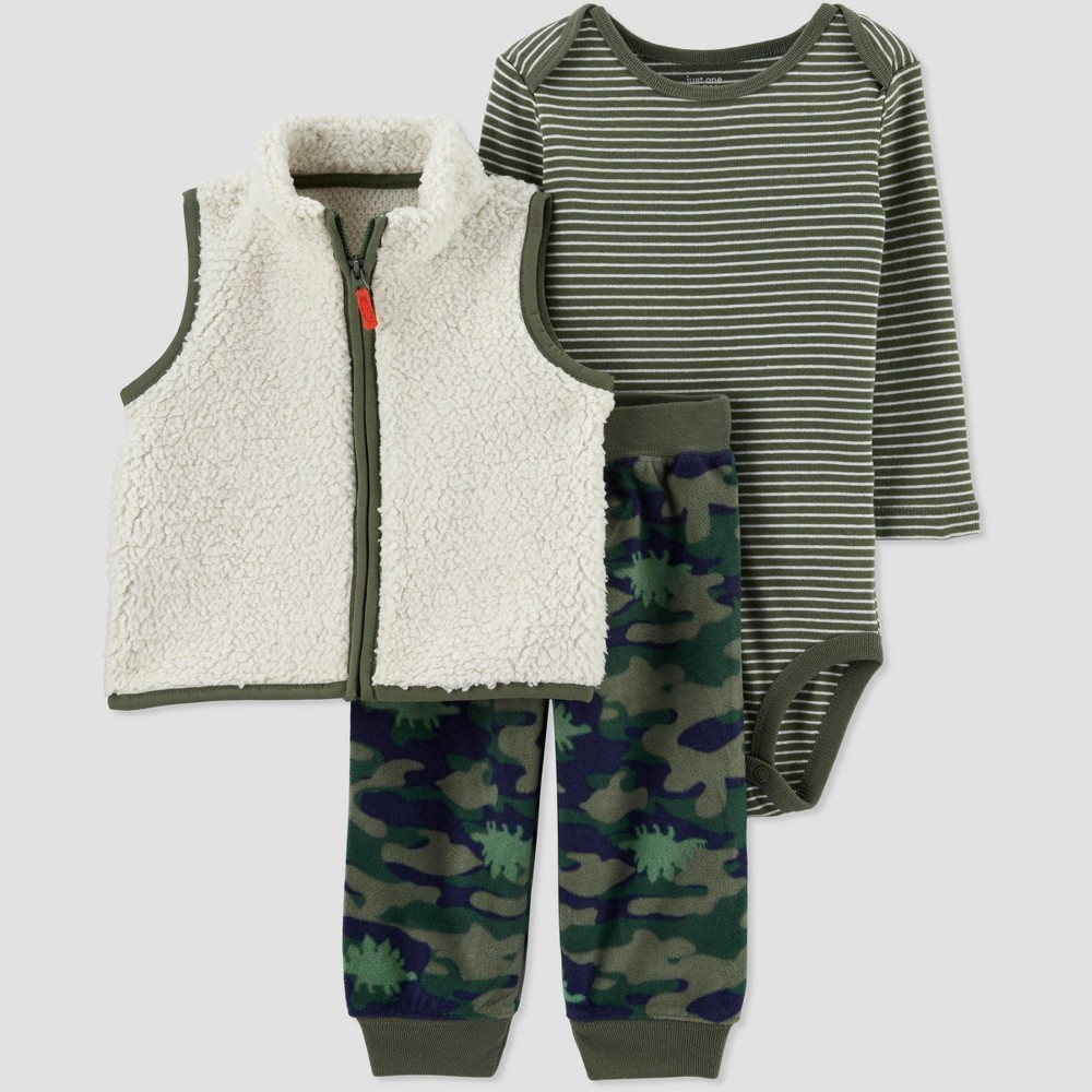 Baby Boys' 3pc Camo Sherpa Vest Top & Bottom Set - Just One You made by carter's Green 12M, Boy's, Green/Green thumbnail