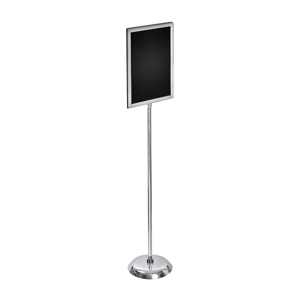 Azar 11 x 17 Two-Sided Slide-in Frame Sign Holder with Metal Pedestal Stand, Light Steel